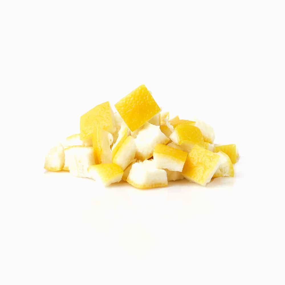 Zitreonenschale gefrorene Zitronenschalen Stücke Streifen Citrus
