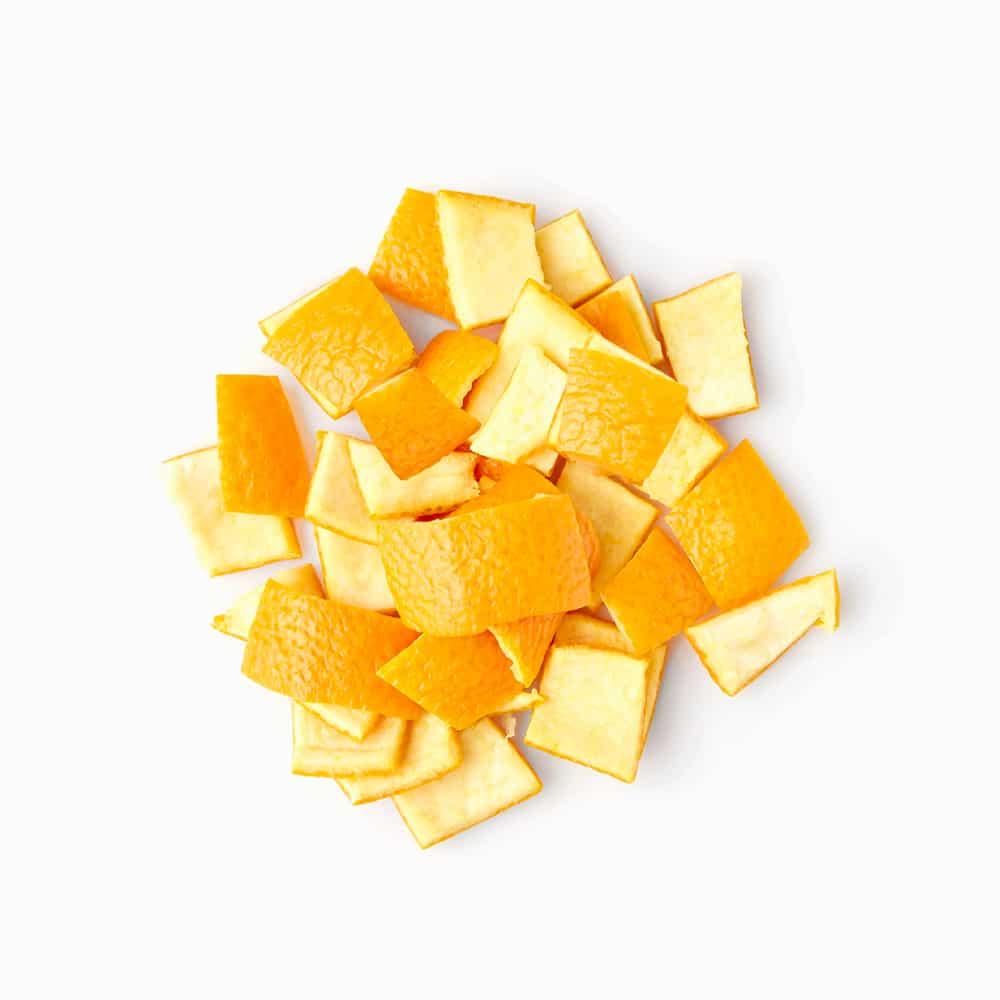 Orangenschale gefroren Orangenschalen Stücke geschnitten gefrorene Orangenschalenstücke