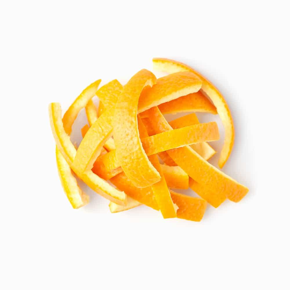 Gefrorene Orangenschalen Streifen Orangenschalenstreifen geschnitten und gefroren