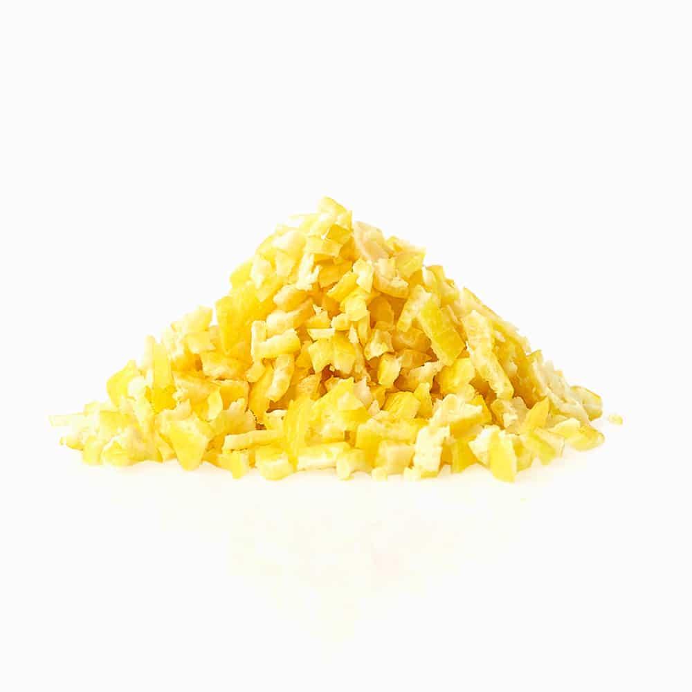 Gefrorene Zitronenschalen Stücke Granulat gefroren Citrusschale Zitronenschale